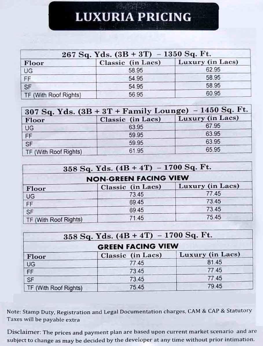 Puri Luxuria Floors Price List